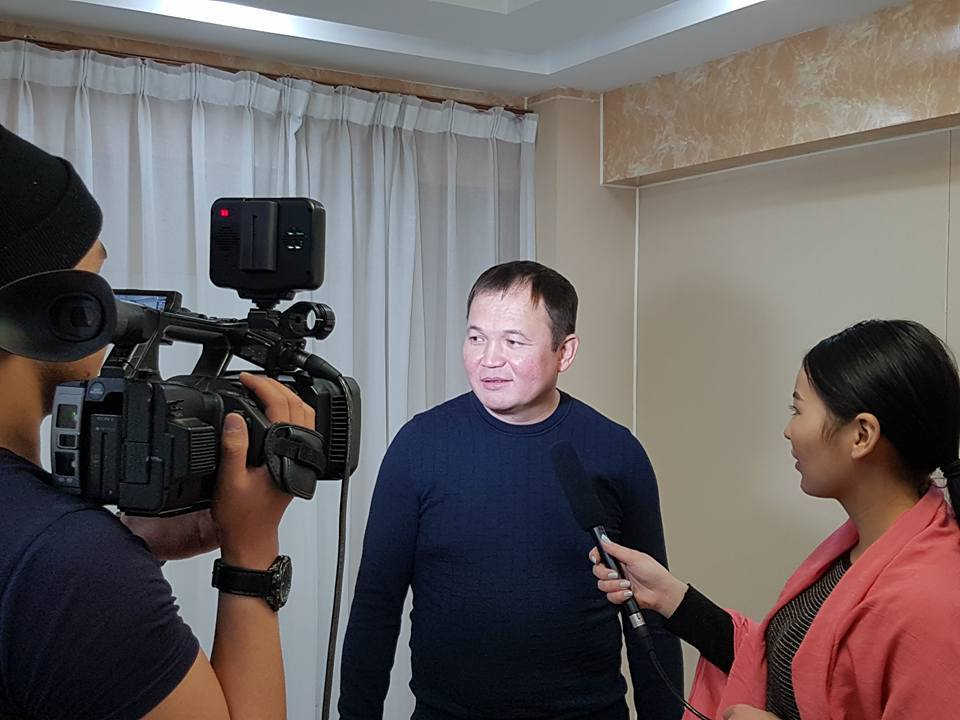 Berik Zhangirbayev gives interviews in Ulan Bator, Mongolia, 2016